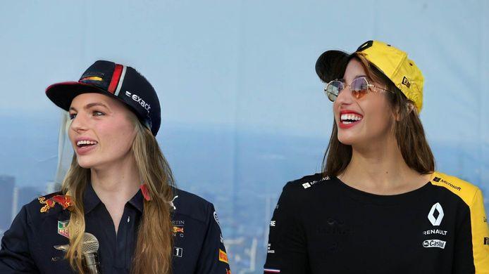 Een persconferentie van 'Maxima' Verstappen en 'Danielle' Ricciardo.