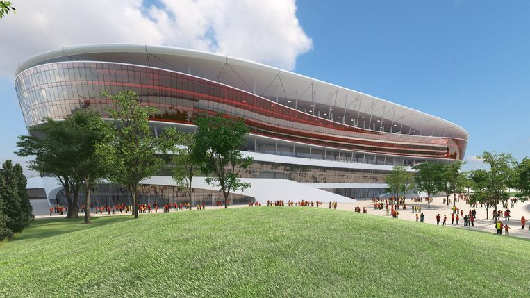 Een simulatiebeeld van het Eurostadion. Beeld rv