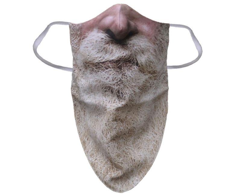 Kerstmondkapje met baardprint van Dena Textile. Beeld dena-textile.com