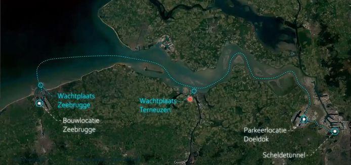 Het tracé dat de tunnelelementen moet afleggen naar hun definitieve bestemming.