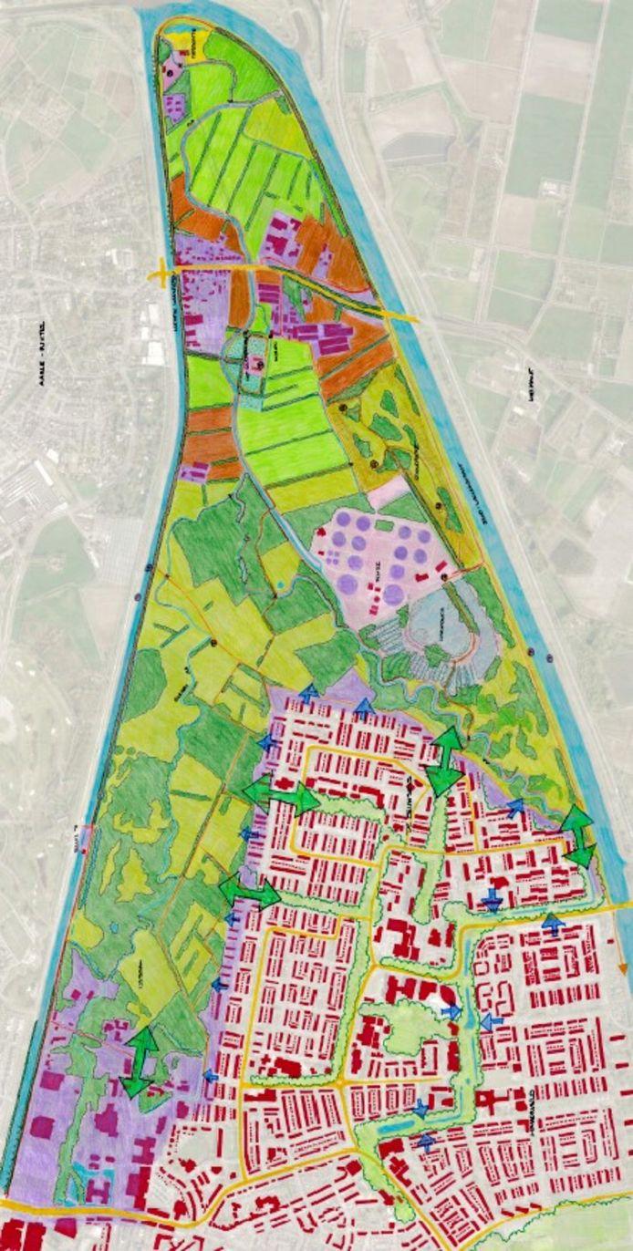 Het gebied Het Gulden Land, tussen Laarbeek en Helmond, ingeklemd tussen de kanalen.
