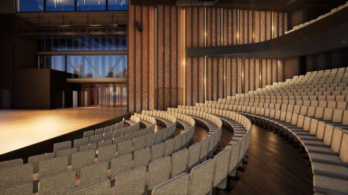 De Grote Zaal in het nieuwe Theater aan de Parade, zoals op 23 april is gepresenteerd.