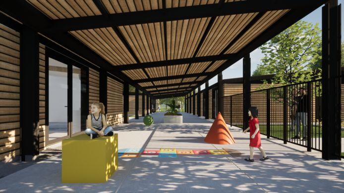 De 'speelstraat' van de nieuwe Chirolokalen in Sterrebeek zorgt voor beschutting.