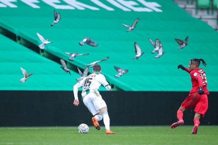 Terwijl de duiven rondfladderen zet Tyronne Ebuehi de achtervolging in op Gabriel Gudmundsson.