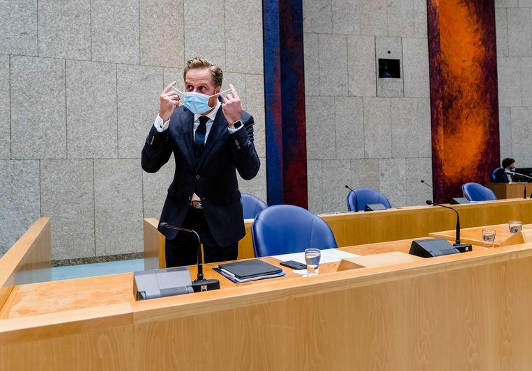 Demissionair Minister Hugo de Jonge met een mondkapje.  Beeld ANP