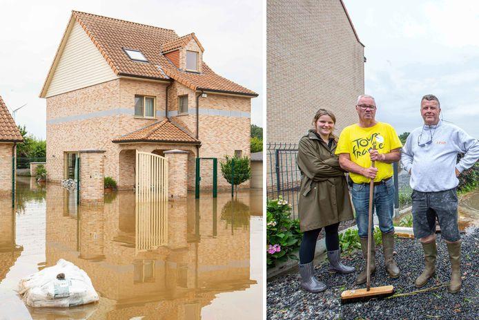 Rechts Celien en Alain Stiennon met rechts op de foto Filip Dewolf. Zijn woning liep helemaal onder water (links).