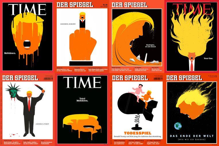 Het werk van Edel Rodriguez op de covers van 'Time' en 'Der Spiegel'. Beeld Edel Rodriguez