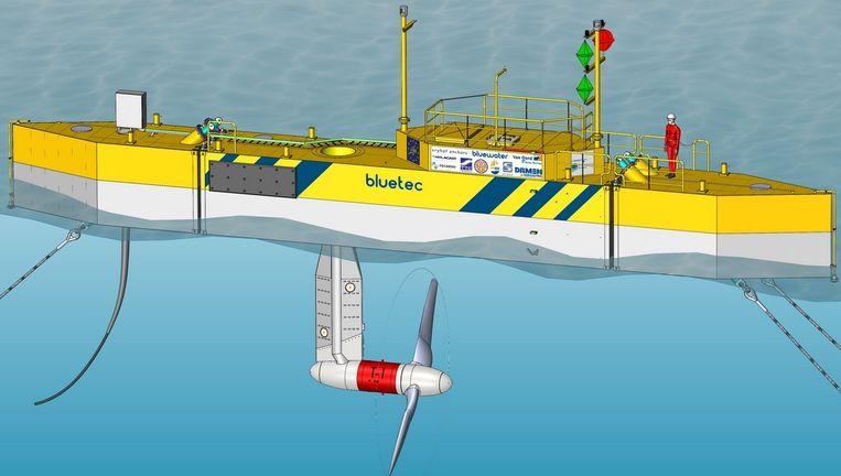 Een getijdencentrale van Bluewater en Tocardo zoals die nu bij Texel wordt beproefd. Beeld Tocardo