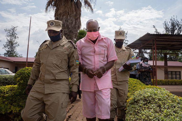 Rusesabagina in gevangenschap in Kigali, vorig jaar. Hij werd met een list naar Rwanda gelokt.  Beeld AFP