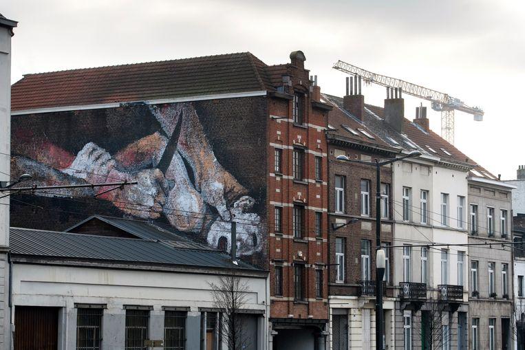 De onthoofdingsmuur aan de Vlaamsepoort in Brussel. Beeld Photo News