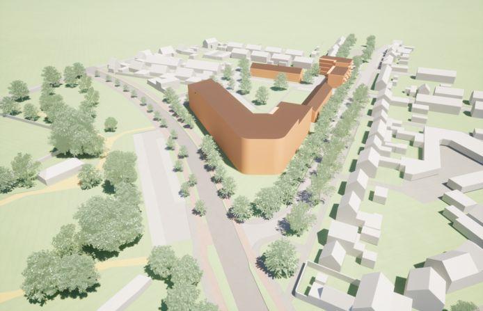 Model A voor invulling terrein Nieuwe Nobelaer Etten-Leur, links Anna van Berchemlaan, rechts Oranjelaan. Hoogte op hoogste punt 5,5 bouwlagen.