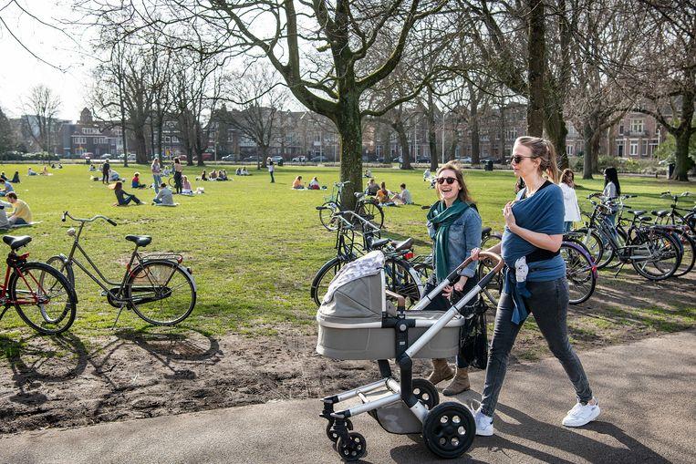 Bezoekers profiteren donderdag in het Wilhelminapark in Utrecht van een lenteachtige dag in de winter. Beeld Guus Dubbelman / de Volkskrant