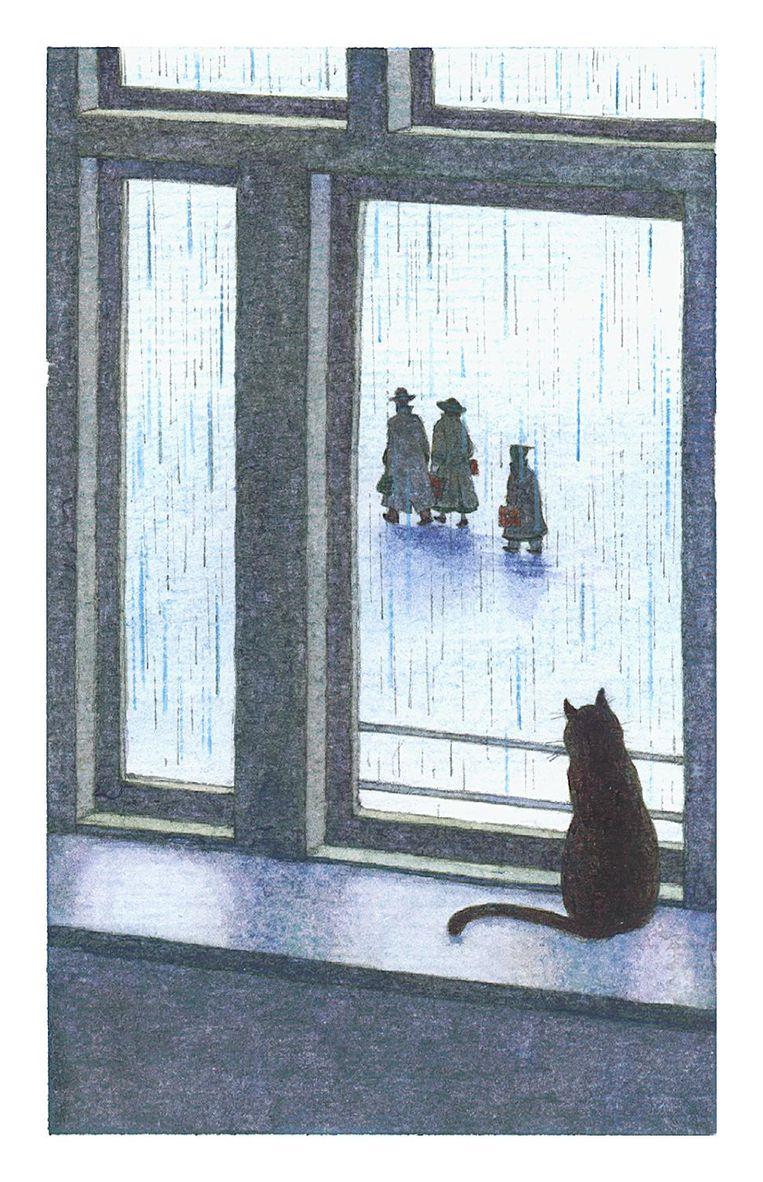 Kat Moortje kijkt vanaf de vensterbank het drietal na. Beeld Anne Frank Stichting/Huck Scarry