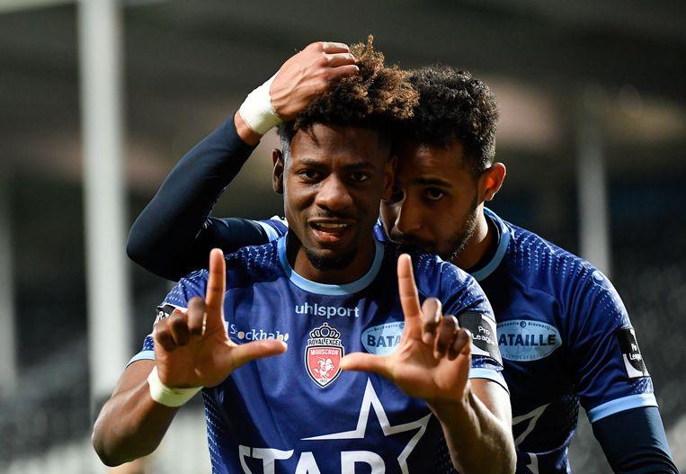 Nuno da Costa van Moeskroen viert een goal. Beeld BELGA