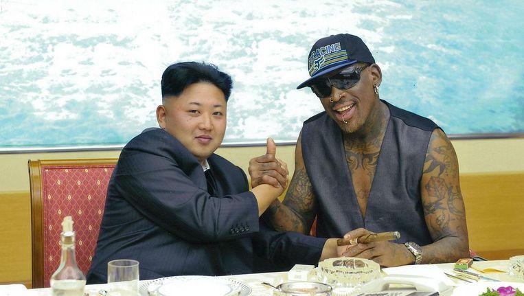 Kim Jong-un en Dennis Rodman Beeld getty