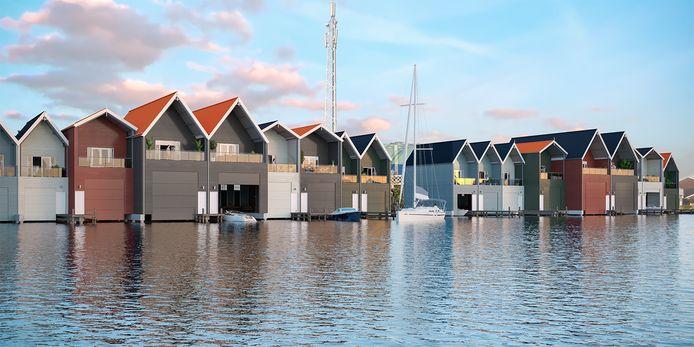 De bouw van de tweede serie van twintig boothuizen in het water naast het Dolfinarium gaat wel al deze maand van start.