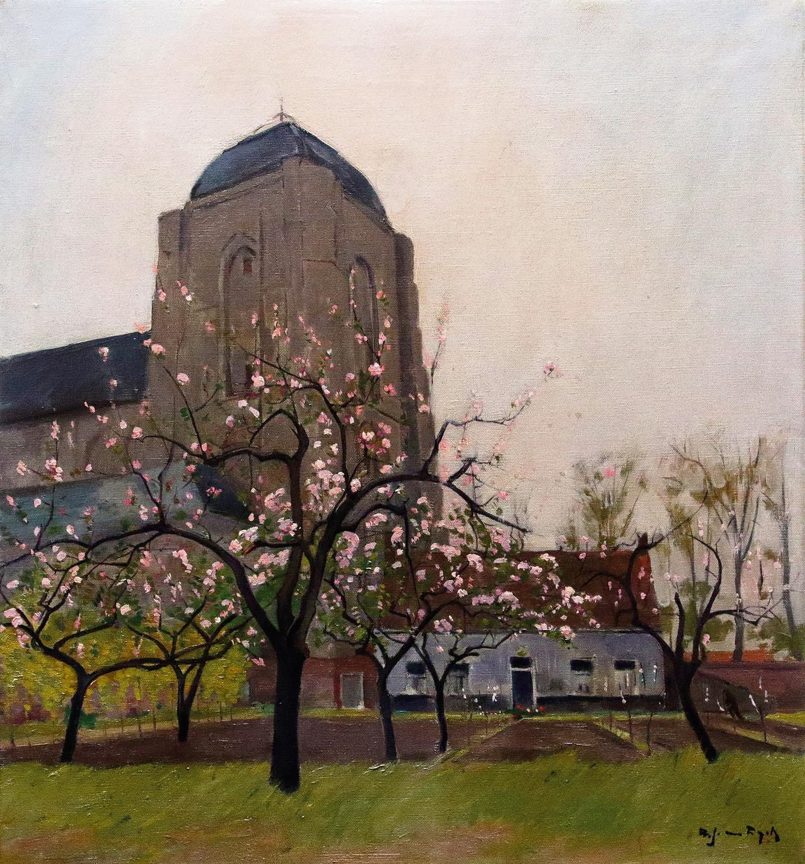 De Grote Kerk van Veere, geschilderd door de Vlaming Alfons van Dijck (1894-1979) die in 1919 naar Veere kwam en er nooit nooit meer wegging.