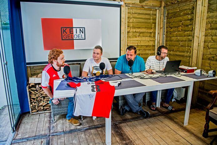 Kein Geloel, 4 jongens maken een podcast over Feyenoord in hun tuinhuis in Zoetermeer. Foto: Frank de Roo