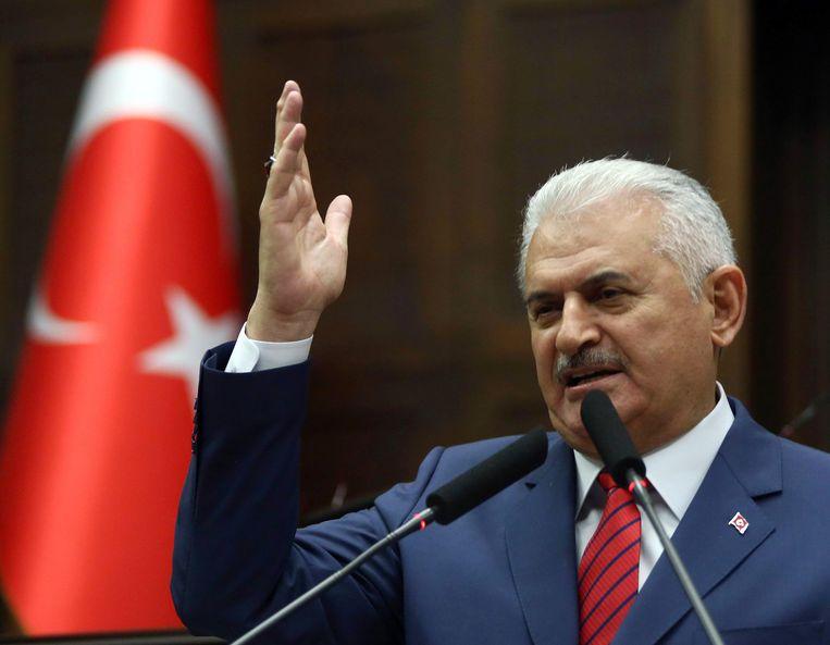 De Turkse premier Binali Yildirim. Beeld AFP