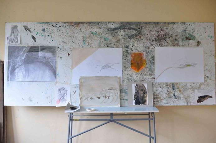 Atelier van Aagje Linssen tijdens de vijfde editie van Grenswerk.