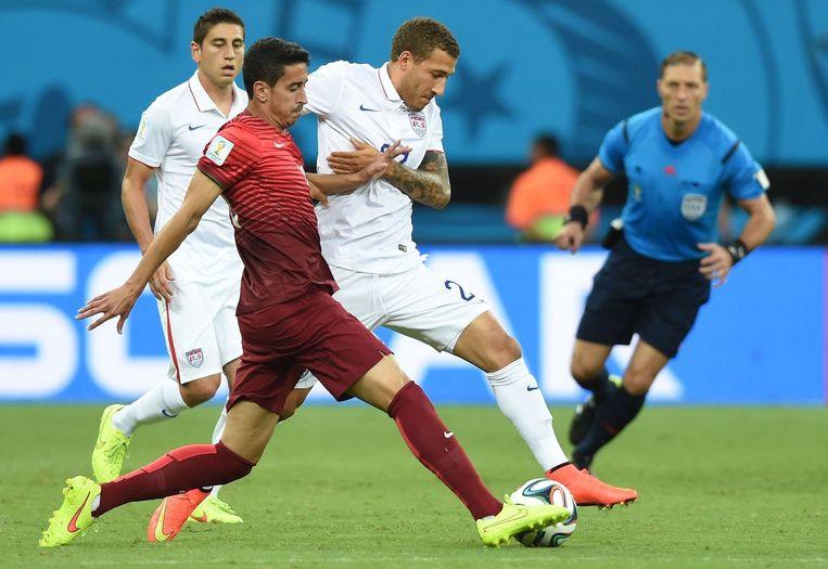 Beeld uit de wedstrijd tussen Portugal en de VS. Beeld anp