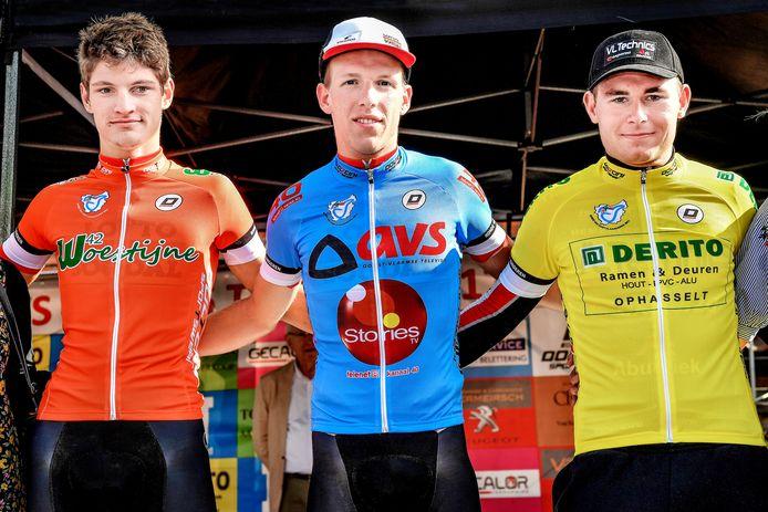 In 2017 was de Ronde van Oost-Vlaanderen al eens te gast in Maldegem-Kleit en mochten Brent Van Moer (rood), ritwinnaar Sander De Pestel (blauw) en Thibau Verhofstadt (geel) de leiderstruien aantrekken.