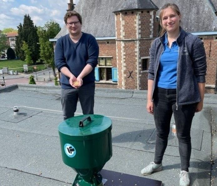 Schepen van Dierenwelzijn Bart Lambrecht (N-VA) en dierenarts Liesl Van Trappen van Vets for City Pigeons, samen bij de dispenser op het dak van het gemeentehuis.