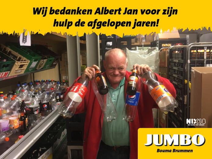 Albert Jan Vink is in Brummen gestopt als de 'flessenman' van de Jumbo. Ruim 10 jaar zamelde hij flessen in voor de supermarkt.