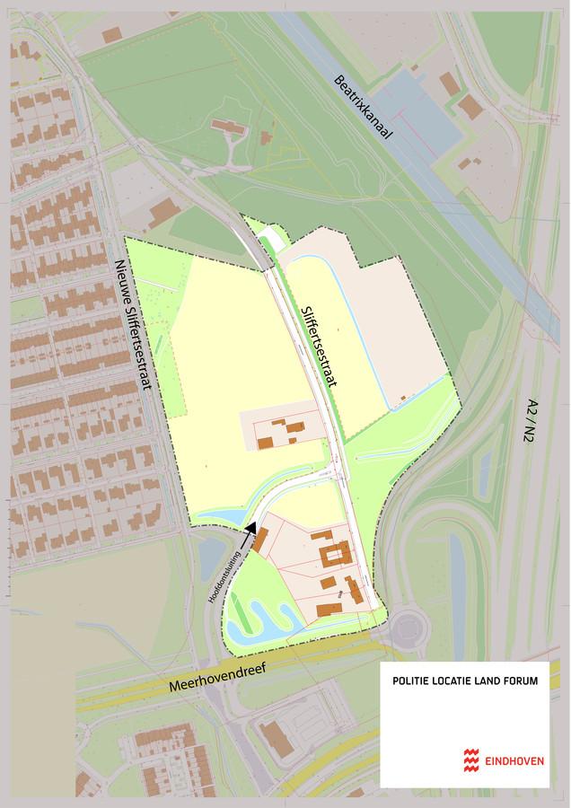 Het gebied waar het nieuwe politiecomplex voor Oost-Brabant moet komen, aan de Meerhovendreef/Sliffertsestraat in Eindhoven.