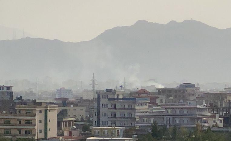 Rook is zichtbaar boven de plek waar de VS waarschijnlijk een IS-K-doelwit hebben beschoten.  Beeld EPA