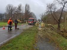 Hevige windvlagen laten sporen na in Oost-Nederland: trailer op z'n kant op A50 bij Apeldoorn