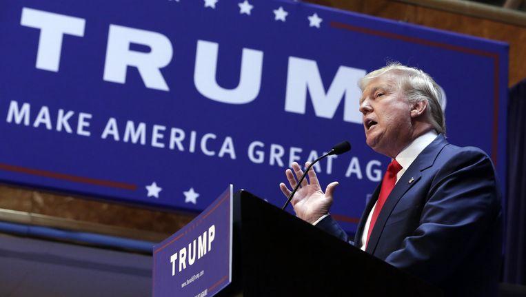 Donald Trump geeft een toespraak. Beeld ap