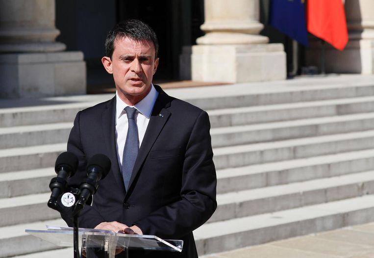 Premier Valls tijdens zijn toespraak. Beeld afp