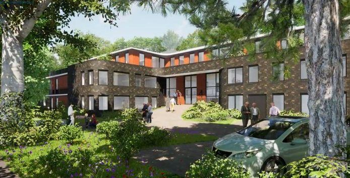 Impressie van De Nieuwe Boskamp aan de Burgemeester van der Feltzlaan in Epe, met verhoogde hoofdingang.