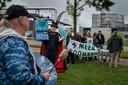 Demonstratie tegen biomassacentrale op Industriepark Kleefse Waard in Arnhem.