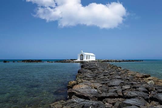 Het strand van Georgioupoli waar Georgia Pepper uiteindelijk weer vond.