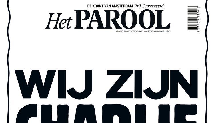 De eerste dag na de aanslag op de redactie van satirisch blad Charlie Hebdo, donderdag 8 januari 2015, werd het alleen maar tekst: een column van Theodor Holman. Beeld Maarten Steenvoort