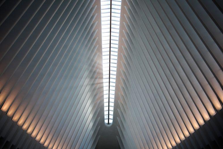 Zo ziet de zogeheten Oculus eruit, de stationshal met witte stalen ribben die doorlopen tot in de nok van het dak. Beeld © NYT
