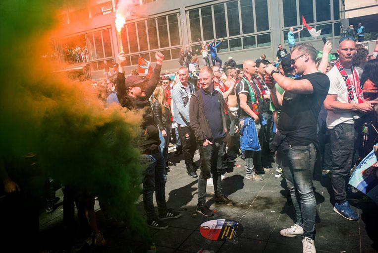 Voetbal supporters van Feyenoord.  Beeld Jiri Buller