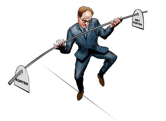 Minister Wouter Koolmees balanceert tussen het wel of niet korten van pensioenen, terwijl er wel bonussen aan beheerders worden uitgekeerd.