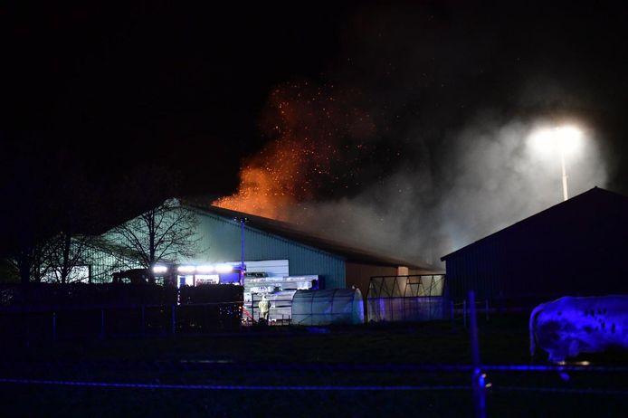 De vlammen sloegen uit het dak.