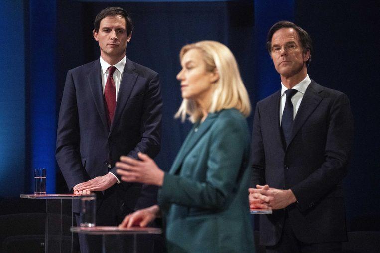 Hoekstra (CDA), Kaag (D66) en Rutte (VVD) tijdens het debat van EenVandaag maandag.  Beeld ANP
