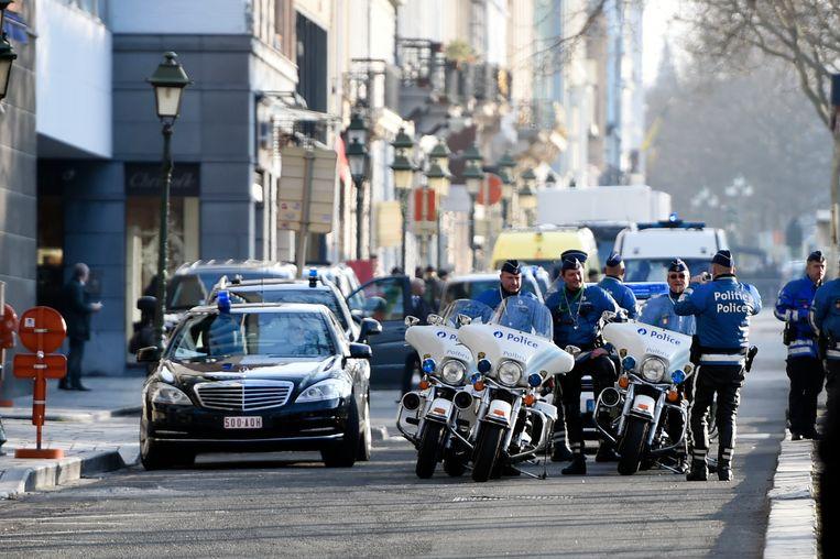 Alle politieagenten zijn nodig op 25 mei om het bezoek van Trump in goede banen te leiden. Nog meer manschappen zullen worden opgeroepen dan wanneer Obama naar ons land kwam. Beeld BELGA