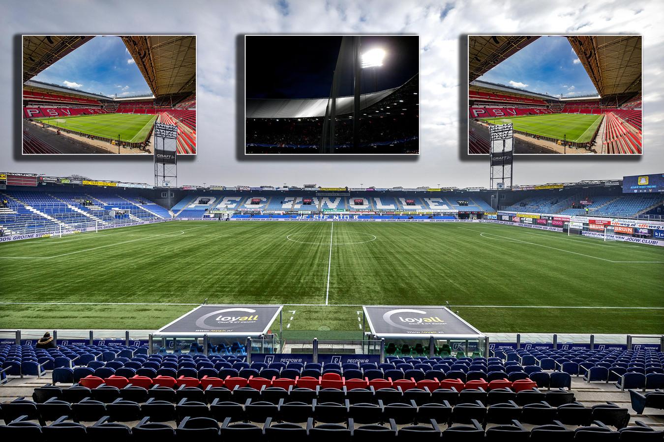Het stadion van PEC Zwolle. Inzetjes, vlnr: het Philips-stadion, de Kuip en Galgenwaard.