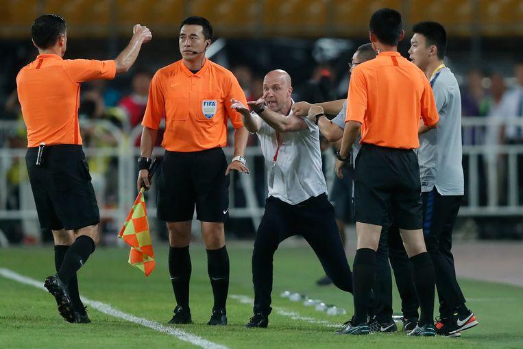 Jordi Cruijff als coach van Chongqing in China (2019). Beeld Getty Images