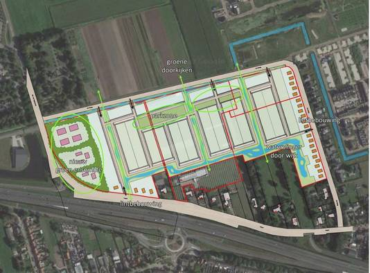 Schetsmatige opzet van de woningbouwplannen van Iveniam plan & gebiedsontwikkeling, voor het gebied tussen de Mortelweg, Wolput en Abt van Engelenlaan in Vlijmen.