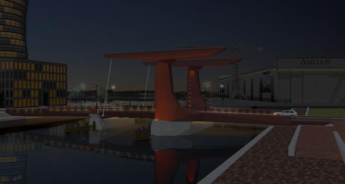 Impressie van de nieuwe Dokbrug 'by night'