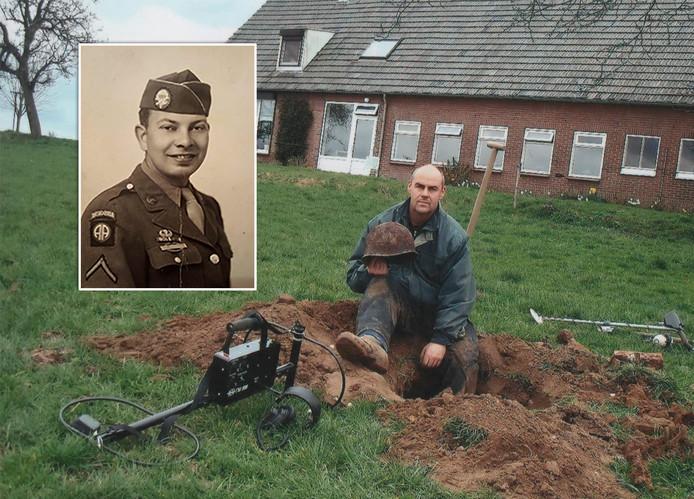 Felix de Klein met de helm van Lawrence Frenning, parachutist van de Amerikaanse 82ste Luchtlandingsdivisie (inzet).