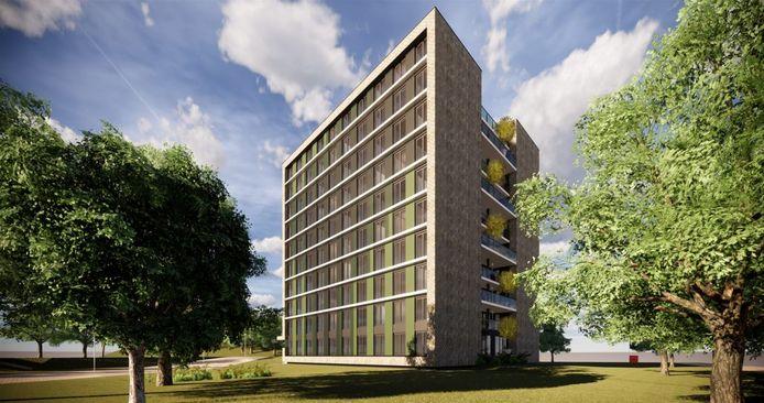 Aan de Opaalweg in Utrecht verrijst een 30 meter hoge woontoren. In de flat is plek voor 200 studentenkamers