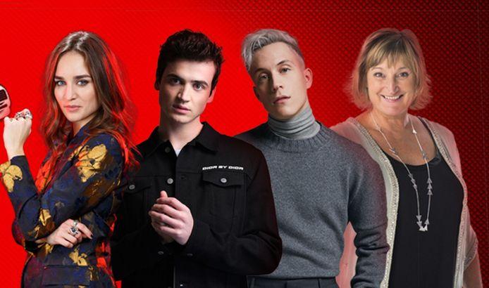 """Typh Barrow, Henri PFR, Loïc Nottet et Typh Barrow composent le jury 100% belge de la nouvelle saison de """"The Voice Belgique""""."""